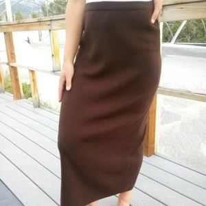100% Wool Knit Full Length Brown Pencil Skirt